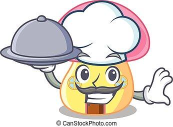 cogumelo, alimento, casa, personagem, cozinheiro, forma