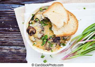 cogumelo, casserole, com, verde, alho, vista superior