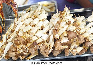 cogumelo, saudável, -, para, assado, ligado, a, stove.