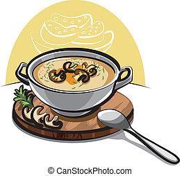 cogumelo, sopa