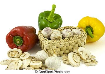 cogumelos, alhos, champignon, pimenta