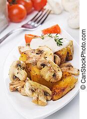 cogumelos, assado, champignon, batata