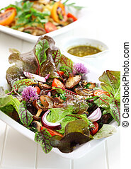 cogumelos, caloria, baixo, salada