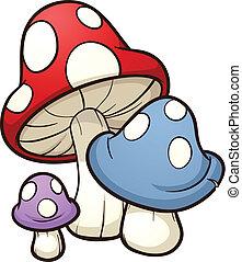 cogumelos, caricatura