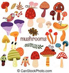 cogumelos, cartão, estilo, fundo, caricatura, jogo, gostoso, branca, tipos, diferente, luminoso, vector.