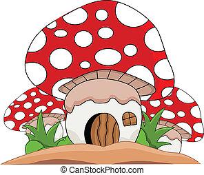 cogumelos, casa, caricatura