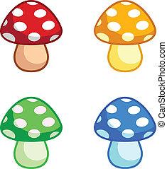 cogumelos, cor, jogo