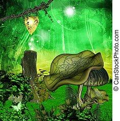 cogumelos, em, a, floresta