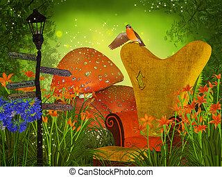 cogumelos, fantasia, floresta