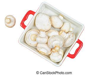 cogumelos, fresco, bandeja, isolado, vermelho