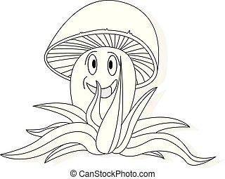 cogumelos, ilustração, jogo, branco, isolado