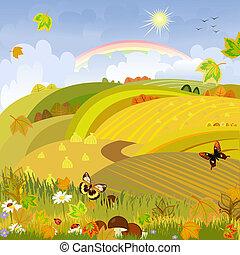 cogumelos, ligado, um, fundo, de, paisagem outono, rural, expanses