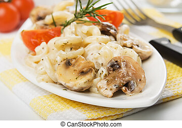 cogumelos, macarronada, inteligência, champignon