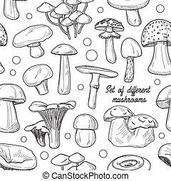 cogumelos, padrão, diferente, jogo