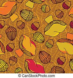 cogumelos, padrão folha, seamless, leaves., outono, experiência., bolotas