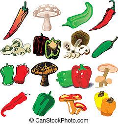 cogumelos, pimentas