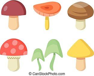 cogumelos, set., vetorial, ilustração