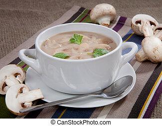 cogumelos, sopa, tigela, gostosa, tabela