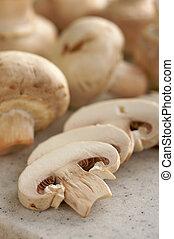cogumelos, &, tábua cortante