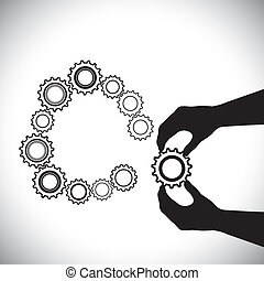 Cogwheel being added by hand(person) for completion-vector graphic. This illustration contains a person's hand helping a cogwheel join a team(group) of other cogwheels for a circle