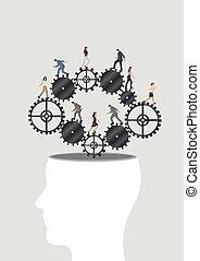 cogwheel, brain.