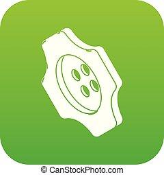 Cogwheel clothes button icon green vector