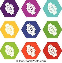 Cogwheel clothes button icons set 9 vector