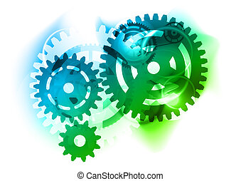 cogwheel - Cogwheel as blue and green background