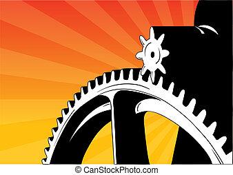 cogwheel - Cogwheel on the orange background.