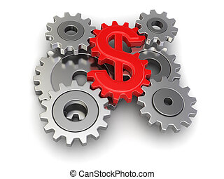 Cogwheel dollar  - Cogwheel dollar. Image with clipping path