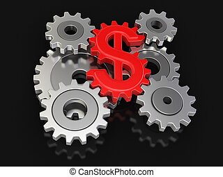 Cogwheel dollar  - Cogwheel dollar. Image with clipping path