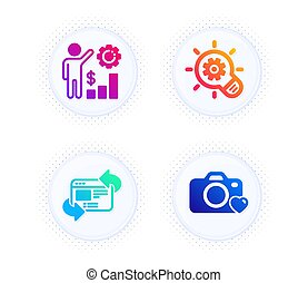 Cogwheel, Employees wealth and Refresh website icons set. Photo camera sign. Vector