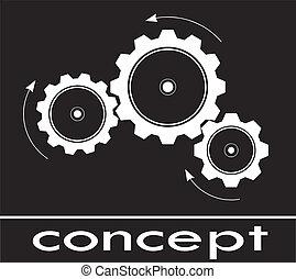 cogwheel, esboço, pensar, e, conceito