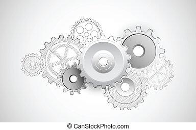 cogwheel, fundo, sketvhy