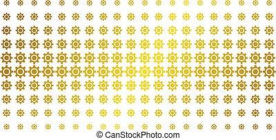 Cogwheel Golden Halftone Grid