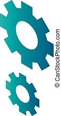 Cogwheel icon, isometric style