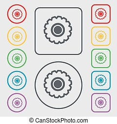 cogwheel icon sign. symbol on the Round and square buttons with frame. Vector