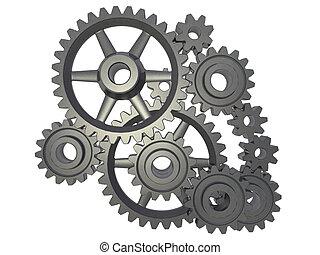 cogwheel mechanism - An isolated cogwheel mechanism on white...