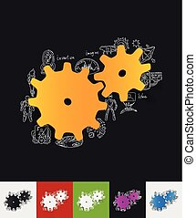 cogwheel paper sticker with hand drawn elements