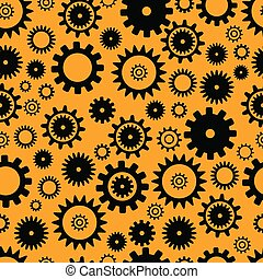 Cogwheel seamless pattern, black color elements on orange background. Flat grunge background. Abstract techno vector illustration. Texture with different gear wheels.