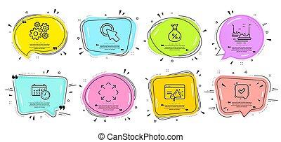 Cogwheel, Seo marketing and Click here icons set. Calendar, ...