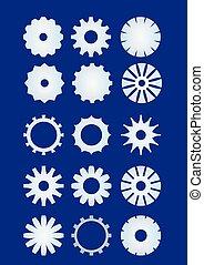 Cogwheel set, sprocket wheel collection in metal material. Techno design elements. Infographic teamwork symbol