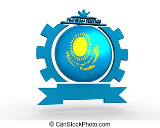 Cogwheel shaped emblem with flag - Sphere textured by flag...