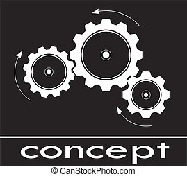cogwheel sketch think and concept white in black background