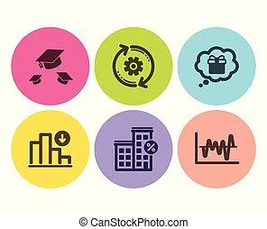 Cogwheel, Throw hats and Decreasing graph icons set. Loan...