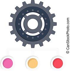 cogwheel vector colour flat icon