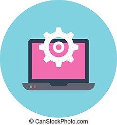 cogwheel vector flat color icon