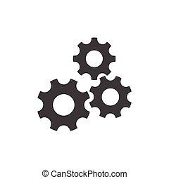 Cogwheel vector icon. Development illustration