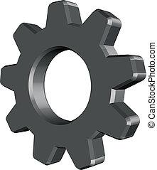 Cogwheel vector - 3D grey cogwheel vector on white...