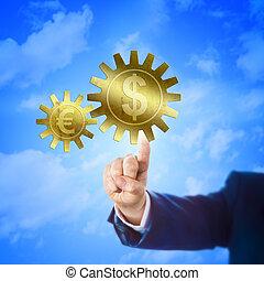 Cogwheel With Dollar And Euro Sign Interlocking